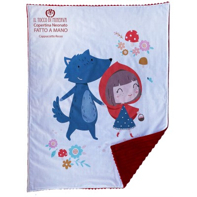 Baby Blanket in Fleece and Cotton Little Red Riding Hood - Handmade