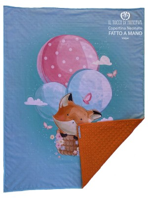Fox Cotton and Fleece Baby Blanket - Handmade