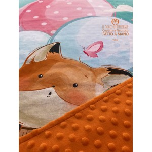 Fox Cotton and Fleece Baby Blanket - Handmade