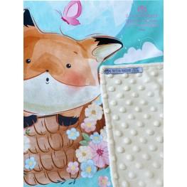 Baby Blanket in Beige Fleece and Fox Cotton - Handmade
