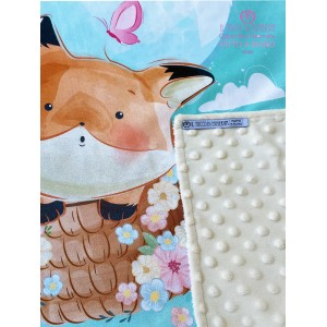 Baby Blanket in Beige Fleece and Fox Cotton - Handmade