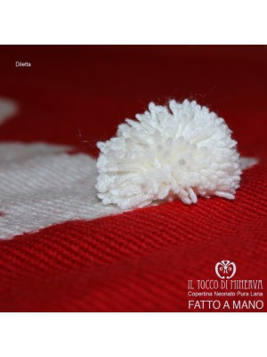 Newborn Pure Red Cover Wool and Cotton Diletta Handmade