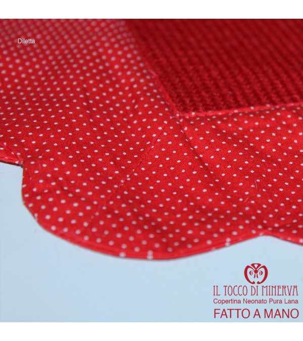 Complete Newborn Red Pure Wool and Cotton Diletta Handmade
