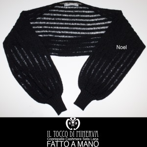 Black cashmere and Noel wool shawl handmade