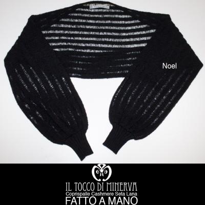Black cashmere and Noel wool shawl handmade