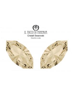 Swarovski Crystal Lobo Earrings 15x7 mm Color Silk - Handmade