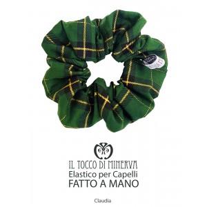 Claudia tartan green Christmas cotton hair tie - Handmade