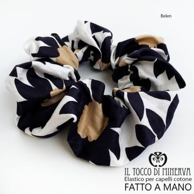 Belen black flower cotton hair elastic - Handmade