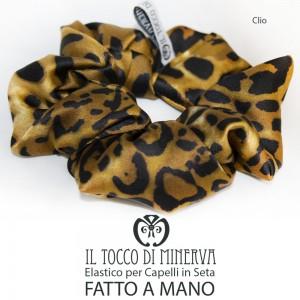 Woman silk hair elastic Clio Animalier Handmade