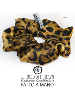 Woman silk hair elastic Clio Animalier Handmade