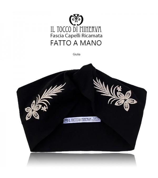 Black cotton headband with silk embroidery - Handmade