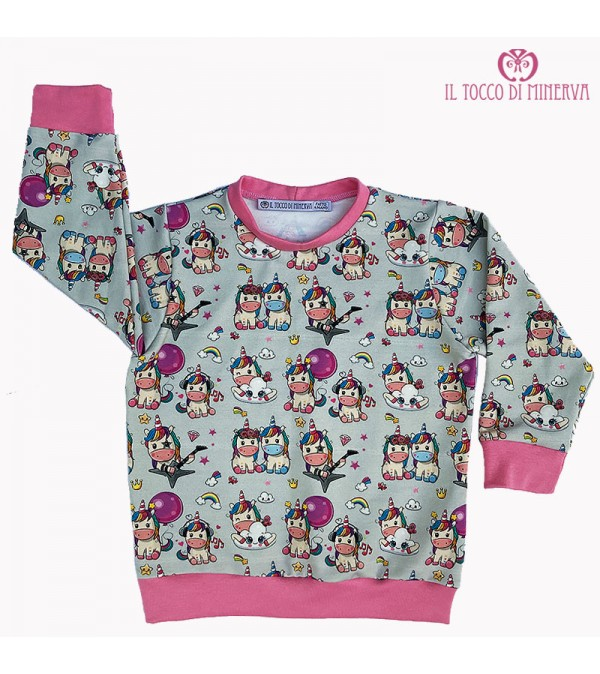 Rock Unicorn Cotton Sweatshirt - Handmade