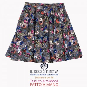 Full skirt with pockets Flowers Made to measure in cotton - Handmade