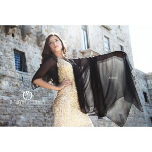 Pure silk black ceremony stole Audace - Handmade