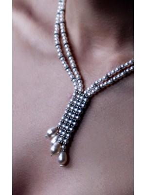 Swarovski Pearl Necklace and Silver925 Angel Bride Line - Handmade