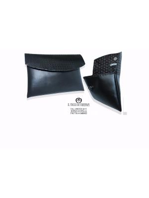 Black and White Ecopelle Clutch Bag - Handmade