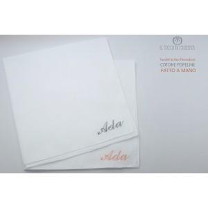 Cotton Poplin Handkerchiefs with Name Customization HandMade Hand Made