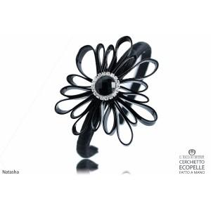 Natasha Black Faux Leather Headband Handmade