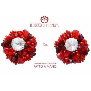 Red Kim Crystal Swarovski Earrings - Handmade