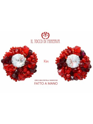 Red Kim Crystal Swarovski Earrings - Handmade