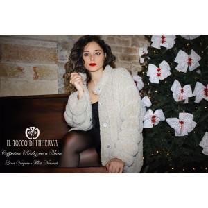 Fabiola pure virgin wool beige faux fur coat Handmade
