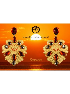 Beige lux lace Savana earrings Handmade - Handmade