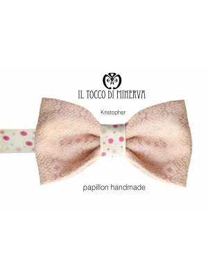 Pink Kristopher bow tie high fashion fabric - Handmade
