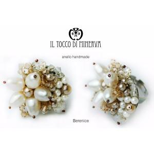 Dove ring Berenice swarovski pearls - Handmade