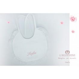 Newborn baby bib in customizable linen Sofia handmade - Handmade