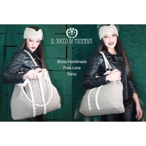 Merino wool and Daisy fur bag - Handmade