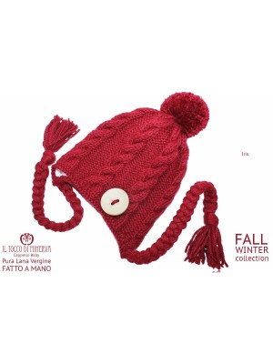 Iris pure wool burgundy hat - Handmade