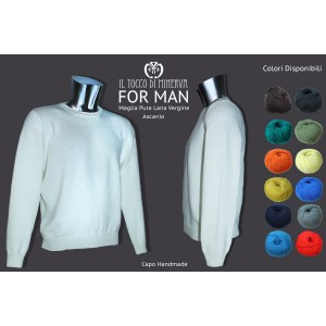 Men's pure wool crew neck sweater Ascanio - Handmade