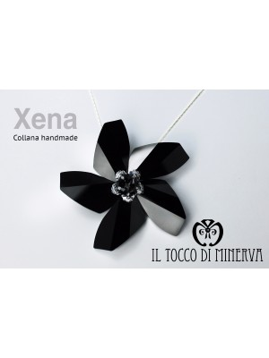 Black swarovski necklace with Xena flower - Handmade
