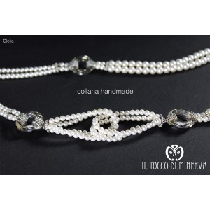 Clelia pearl and swarovski crystal necklace - Handmade
