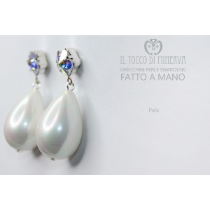 Crystal earrings and Swarovski Pearl Beads Handmade