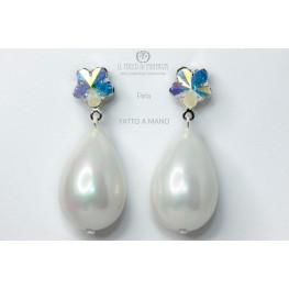 Crystal earrings and Swarovski Pearl Beads Handmade