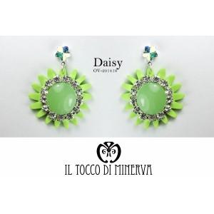 Green Daisy Swarovski Crystal Flower Earrings Handmade - Handmade