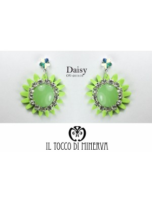 Green Daisy Swarovski Crystal Flower Earrings Handmade - Handmade