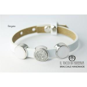 Unisex bracelet in white leather with Bergamo modular charms - Handmade - Handmade
