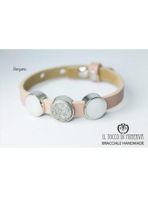 Unisex bracelet in powder leather with Bergamo charms made by hand Handmade