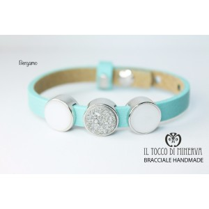 Unisex tiffany green leather bracelet with Bergamo charms made by hand Handmade