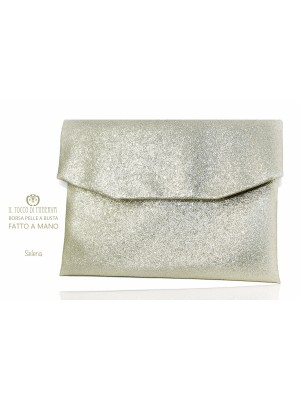 Selene Platinum Ecopelle Clutch Bag - Handmade
