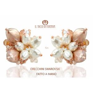 Kim Powder Earrings Swarovski Crystal - Handmade