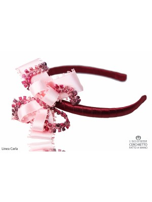 Carla headband Burgundy pink Handmade
