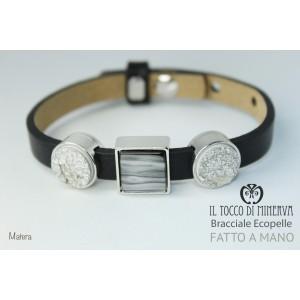 Unisex black eco-leather bracelet with Matera modular handmade charms