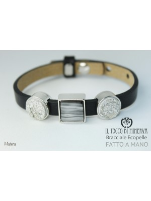Unisex black eco-leather bracelet with Matera modular handmade charms