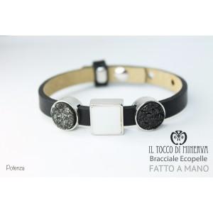 Unisex black eco-leather bracelet with modular charms Potenza hand-made handmade