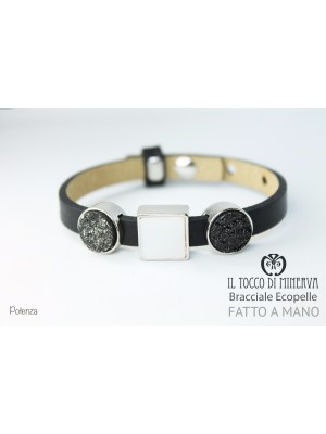 Unisex black eco-leather bracelet with modular charms Potenza hand-made handmade