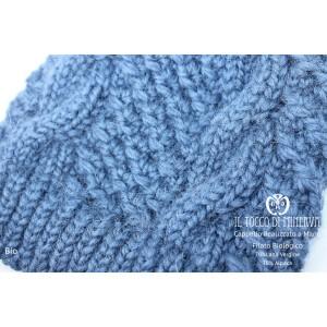 Blue women's organic wool hat Bio - Handmade