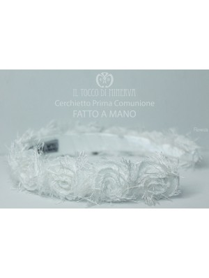 Florenza White First Communion Headband Made By Hand
